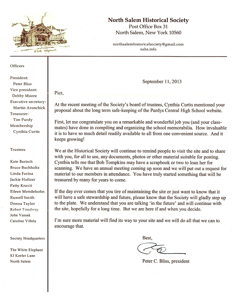 North Salem Historical Society Letter to Pier Peter Guidi class of 1962