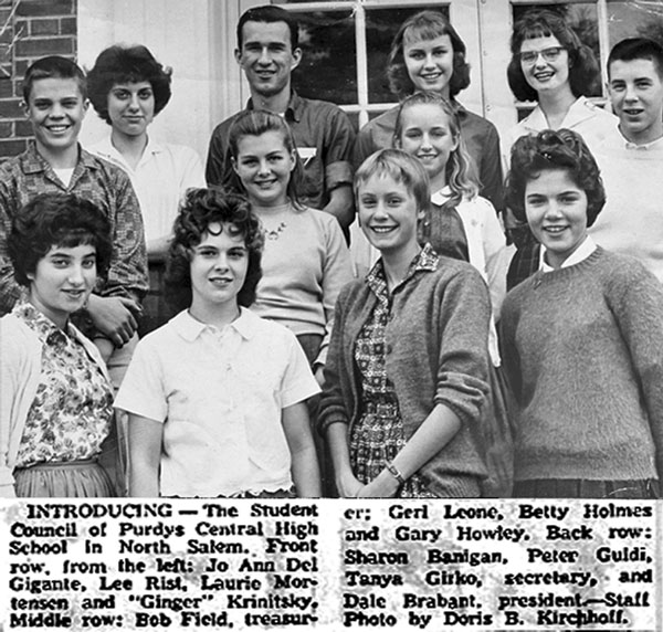 Purdys central High Student Council 1960-61